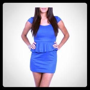 BNWT Blue Peplum Dress