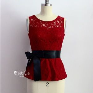 Tops - NWT Wine Red Burgundy Lace Peplum Blouse Top