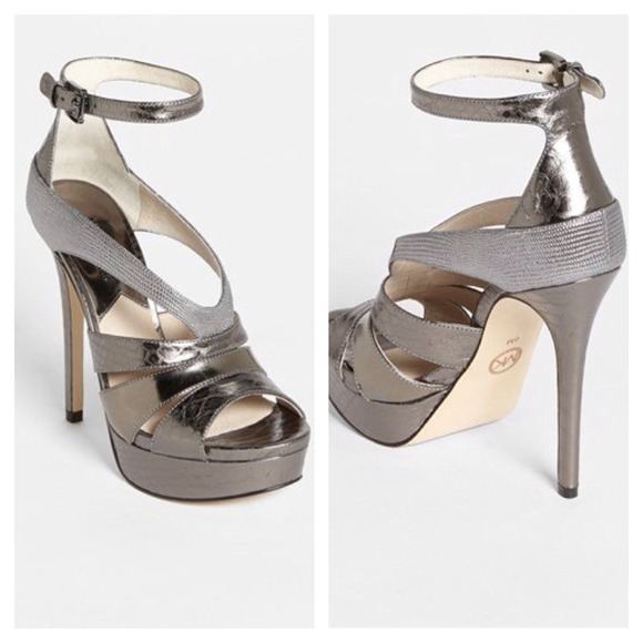 62a44d67c8ac Michael Kors leighton gunmetal silver heels