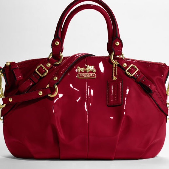 53% off Coach Handbags - REDUCED! Coach Red Patent Leather Sophia ...