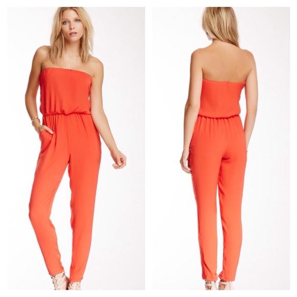 f96819d321b3 ASTR Dresses | New Coral Strapless Jumpsuit Romper By | Poshmark