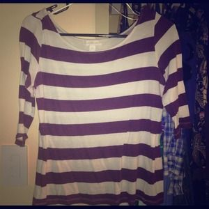 plum / purple and white striped 3/4 length top