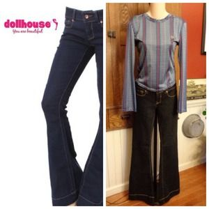 Fancy Black Denim Low Rise Flare Like New! Size 5