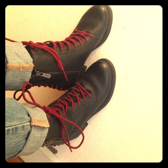 Combat Boots With Red Laces | Poshmark