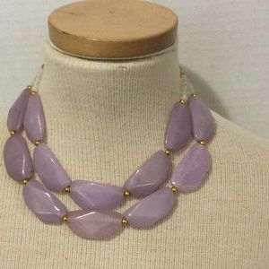lavender gold tone statement necklace new