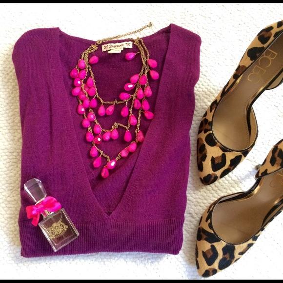Raspberry Wool-Blend Sweater