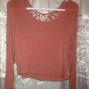 Rust color long sleeve crop top