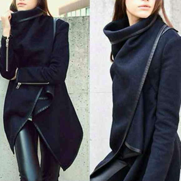 68% off Outerwear - Asymmetrical Navy Wool Coat Wrap Faux Leather