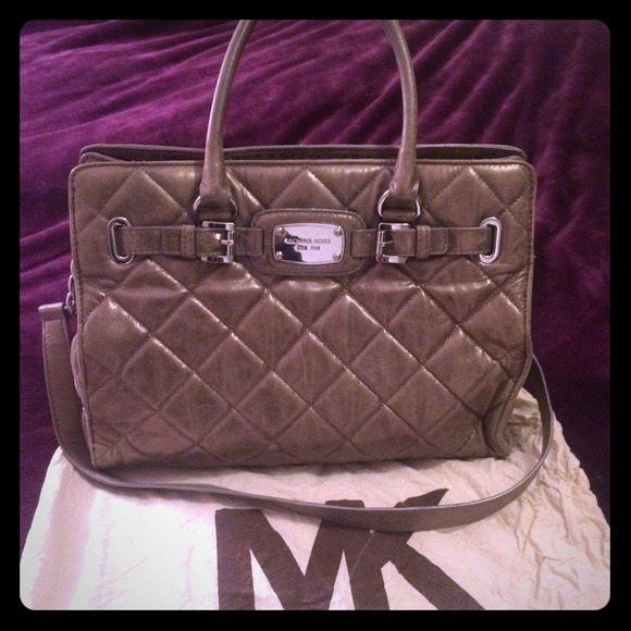 78% off Michael Kors Handbags - MK metallic leather quilted ... : michael kors quilted hamilton - Adamdwight.com
