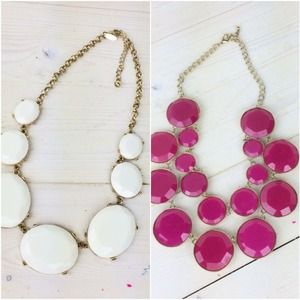 Jewelry - BUNDLE: White Bib Necklace & Pink Bib Necklace