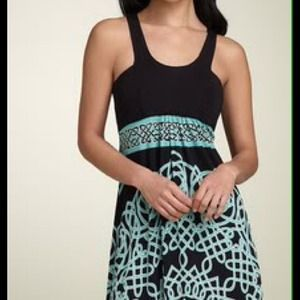 Nicole Miller Celtic-inspired print jersey dress M