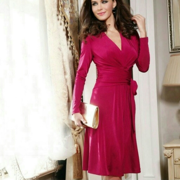 67% off Dresses &amp Skirts - Hot Pink Long Sleeve Wrap Dress. from ...