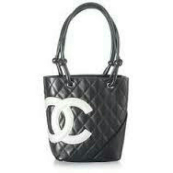 8471145eca488b CHANEL Handbags - Chanel Black Quilted Tote White Logo