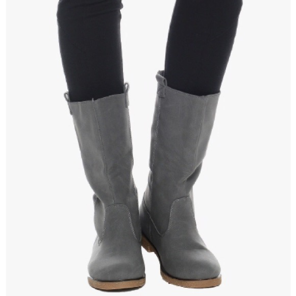 63% off Shoes - Gray riding boots tall grey leather fall winter ...