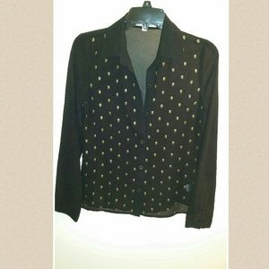 Black semi sheer long sleeve button down w/ skulls