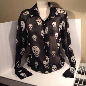 Sexy Skull chiffon sheer top blouse