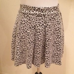 Textured, Pleated Leopard Print Skirt