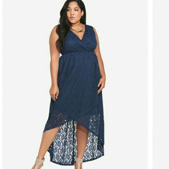 torrid - Torrid dark blue lace hi-lo dress from Darlene\'s closet ...