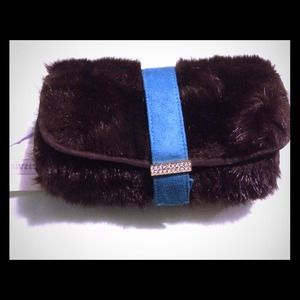 NEW Stephanie Johnson Faux Fur Cosmetic Case