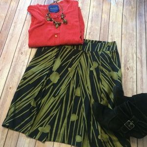 Black and olive green skirt