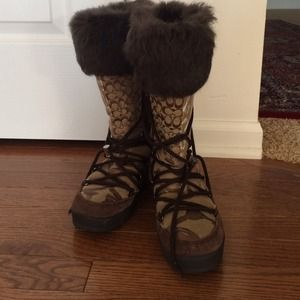 COACH Boots Laurilyn Fur Trimmed Patchwork