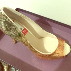 Gold Peep Toe Heel
