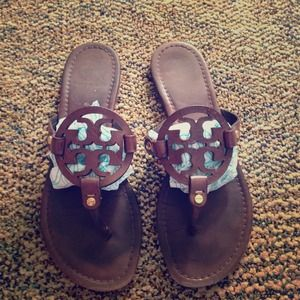 Chocolate brown Tory Burch Miller sandals size 9