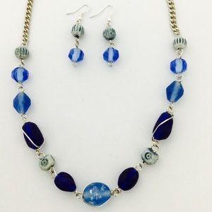 Blue Glass Necklace Set