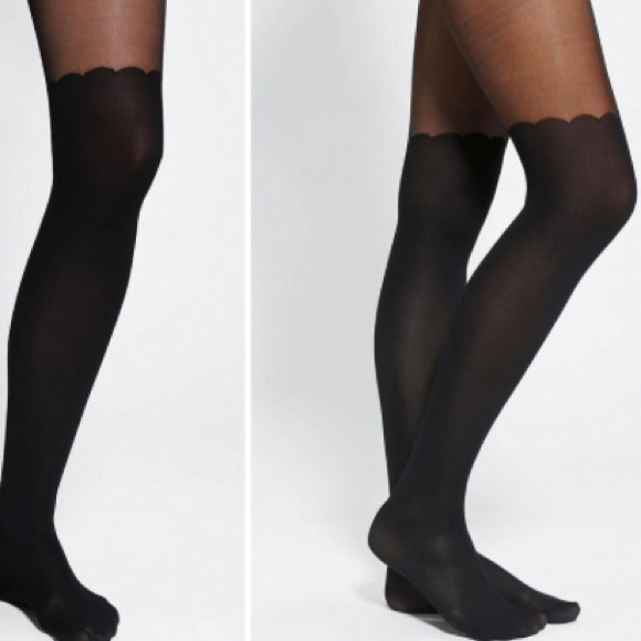 275385729ce Urban Outfitters scallop faux thigh high tights