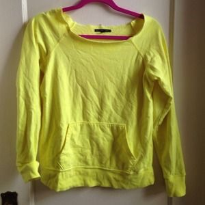Sweaters - Neon yellow off shoulder sweatshirt