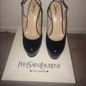 Black textured patent leather ySL heels