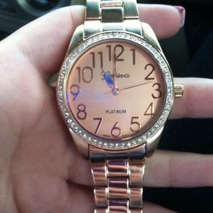 Geneva Rose Gold and Rhinestone watch