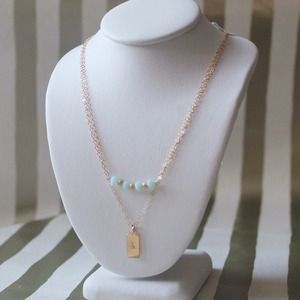Delicate Gold Filled Mini Tag Layering Necklace