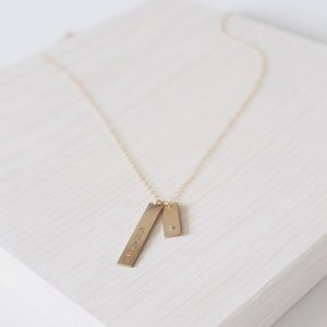 LucyMint Jewelry - 14k Gold Filled Bars Necklace Personalized