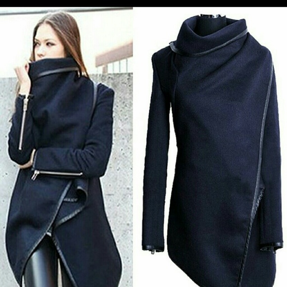 59% off Outerwear - New! Navy Wool Wrap Jacket w/ Faux Leather ...
