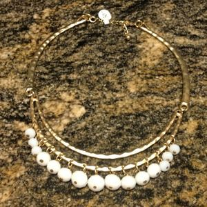 Hammered Gold with faceted white beading