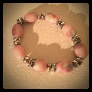 Pink Stone Marble Feel Silver Bracelet