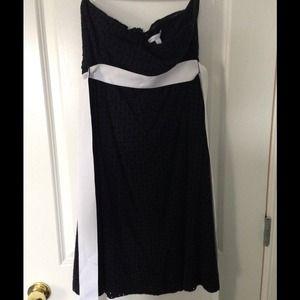 Strapless black eyelet dress