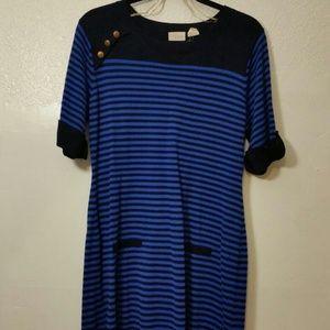 Allison Brittney Navy & blue striped sweater dress