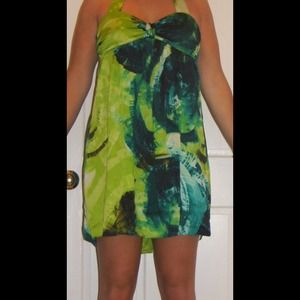 Green/blue abstract print halter cocktail dress
