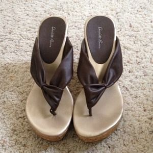 Shoes - Brown Charlotte Russe Sandal Wedges