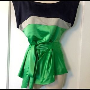 Color block top. Navy blue, silver, green.