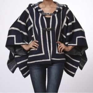Sweaters - Print Poncho with Hood