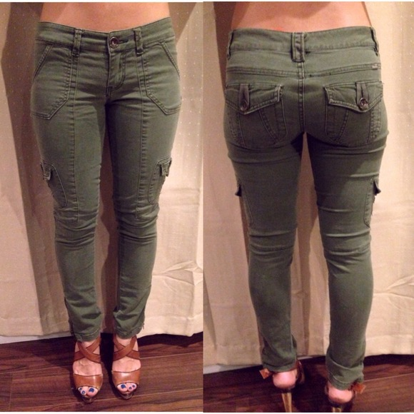 Nasty Gal Jeans Army Green Cargo Skinny With Ankle