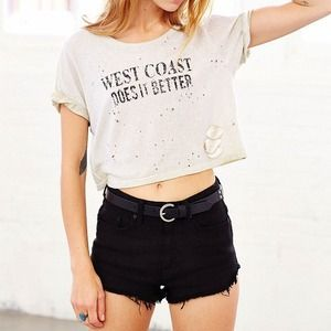 West coast does it better distressed crop tee