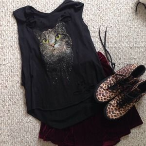 Tops - Galaxy Cat Muscle Tee