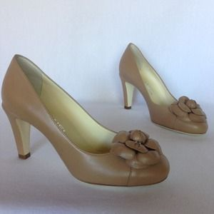 Chanel Beige Leather Camellia Pumps