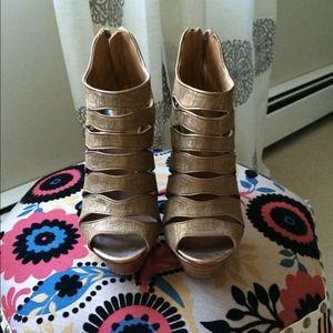Ellie Tahari gold open toe bootie