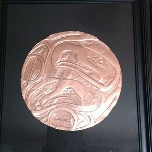 HANDCARVED COPPER TSHIMPSHEAM/HAIDA PICTURE