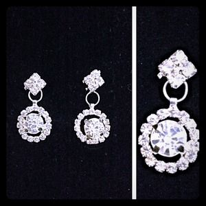 ⭐️Crystal round halo bling earrings⭐️